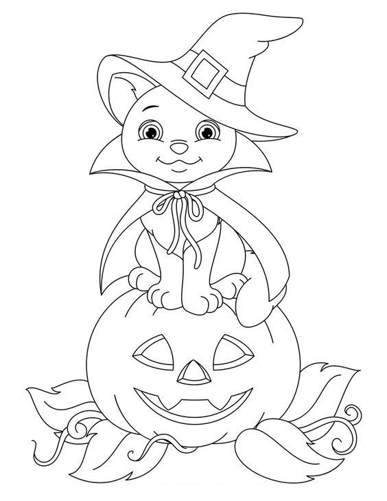 Tranh tô màu quả bí ngô Halloween cute