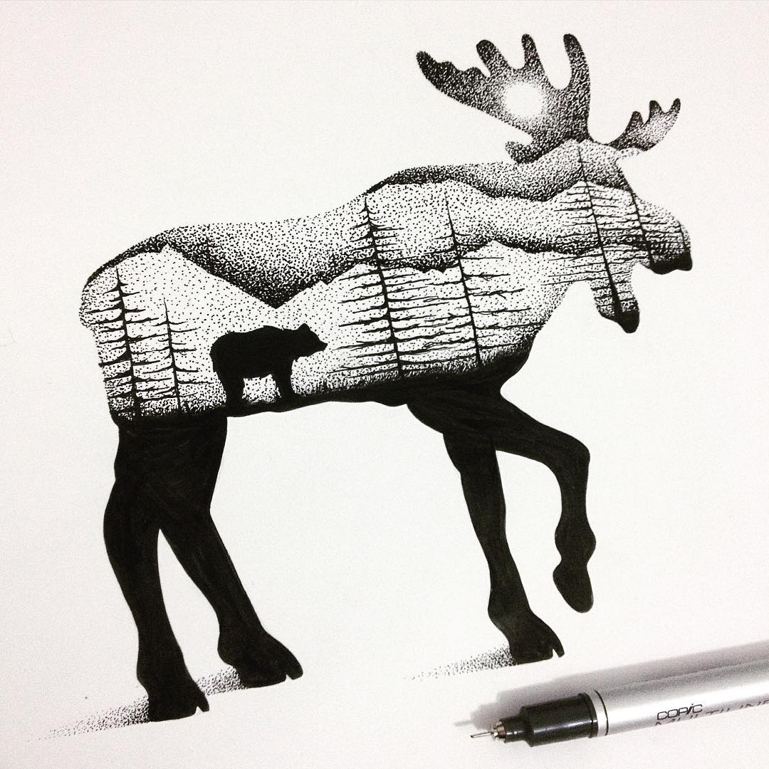 08-Moose-and-Bear-Thiago-Bianchini-Eclectic-Collection-of-Drawings-and-Illustrations-www-designstack-co