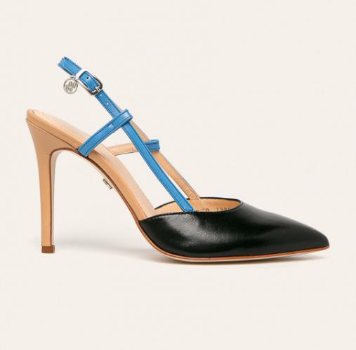 Solo Femme - Stilettos cu toc inalt subtire din piele naturala decupati negru cu albastru