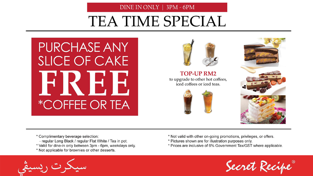 Secret Recipe Malaysia Purchase Slice Of Cake Get Free Coffee Or Tea Reguler 2dweekdays