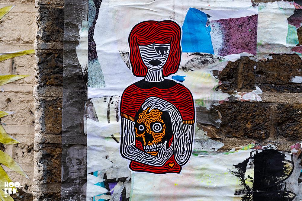 C3 and RxSkull Shoreditch Street Art Stickers on Hanbury Street