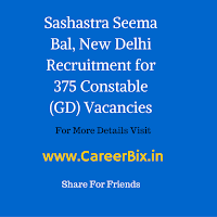 Sashastra Seema Bal, New Delhi Recruitment for 375 Constable (GD) Vacancies