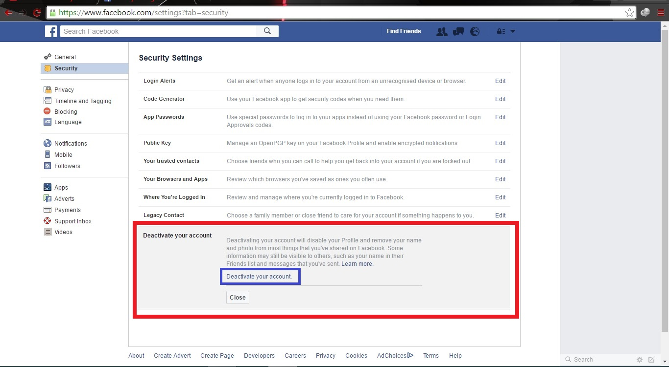How to delete Facebook Page or Facebook Account? ~ MAD ABOUT COMPUTER