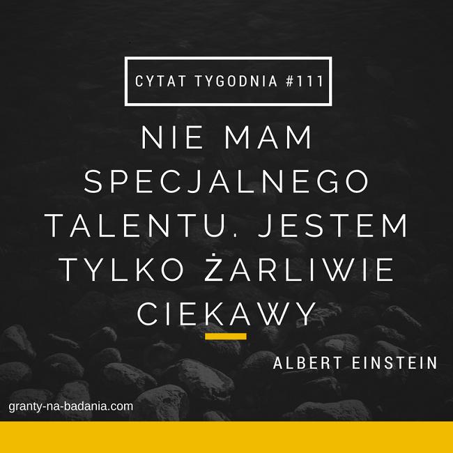 Nie mam specjalnego talentu. Jestem tylko żarliwie ciekawy.  – Albert Einstein