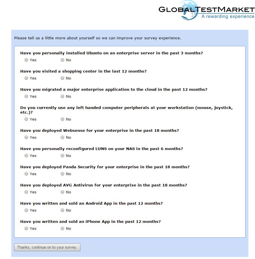 Global Test Market main survey page