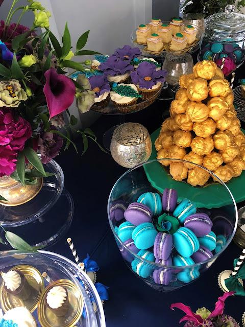 Candy  bar w kolorach przewodnich wesela: złoto, fiolet, turkus, czerń. Okiem Żony i Matki.