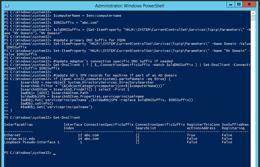 All Things Techie  net: Use Powershell to Change Host's FQDN