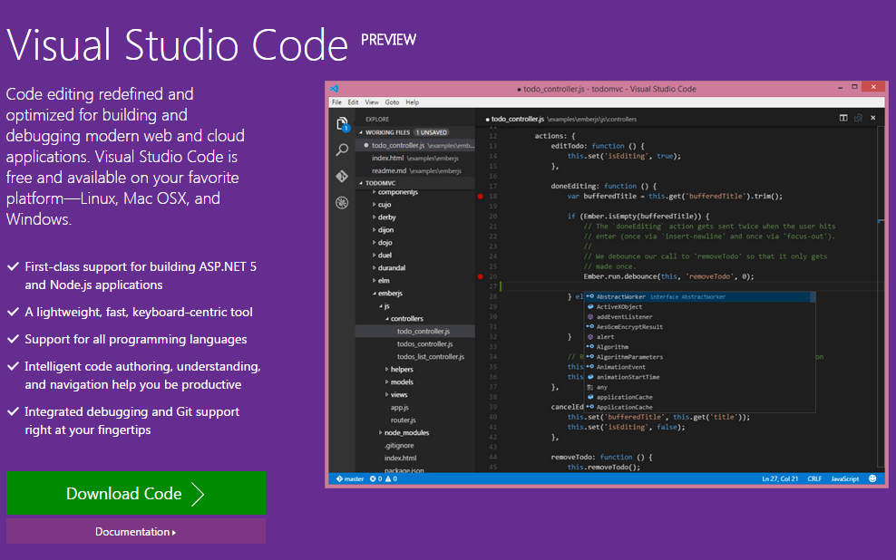 Visual Studio Code Preview- Visual Studio for Linux, Mac OSX and