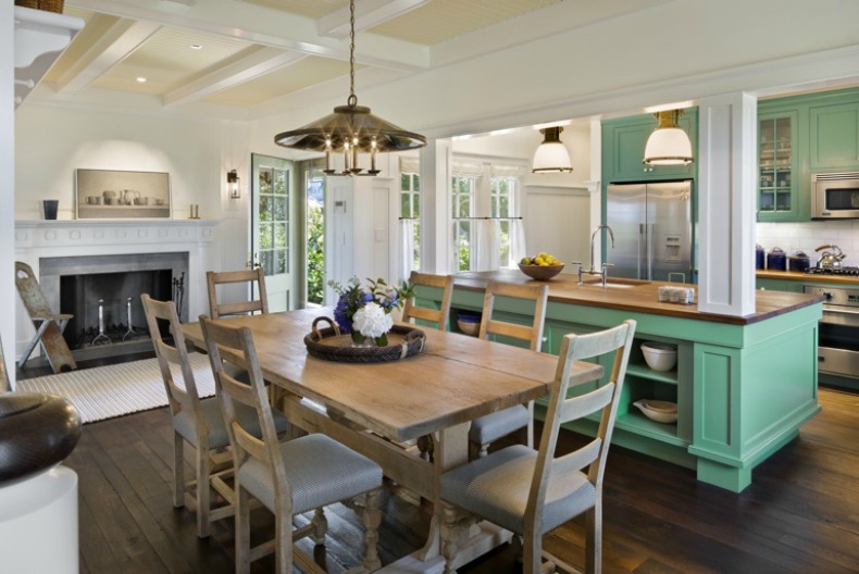 Coastal beach house kitchen and dinign room