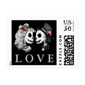 skeleton LOVE Matching Black Wedding Small Postage Stamp