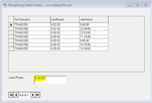 Cara Menghitung Selisih Jam Pada VB 6.0