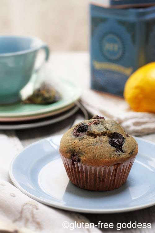 Gluten-Free Goddess Lemon Blueberry Muffins