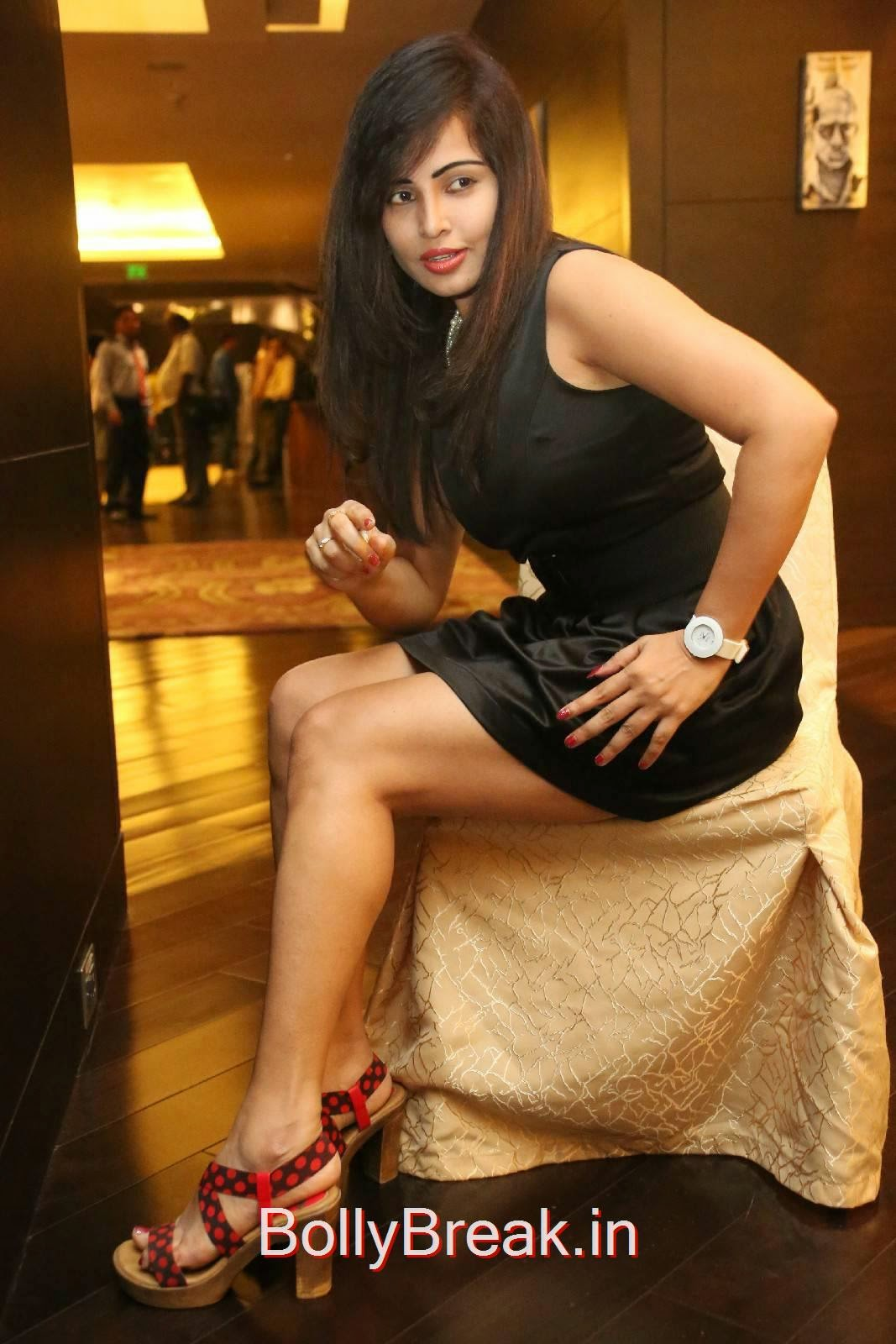 Telugu Actress Hashika Dutt, Hashika Dutt Hot Pics In Black Dress from Player Trailer Launch