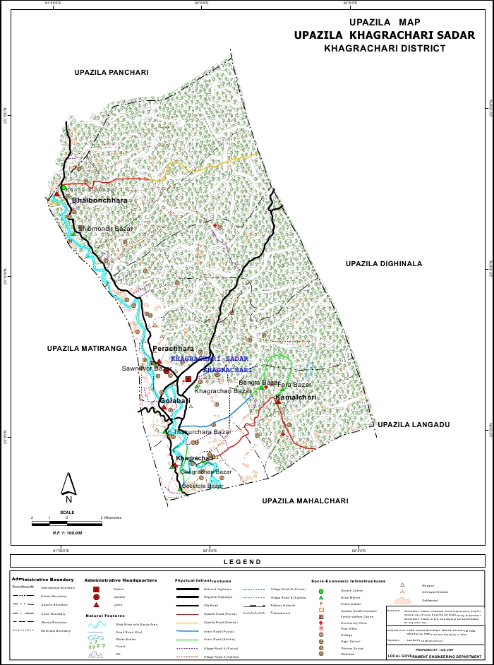 Khagrachari Sadar Upazila Map Khagrachari District Bangladesh