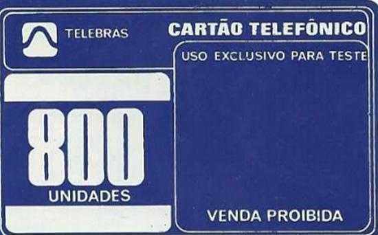 Cartão telefônico - Telebrás - Teste Azul