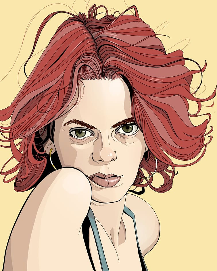 drawing portrait red hair girl