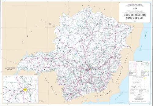 Mapa rodoviário de Minas Gerais - DNIT