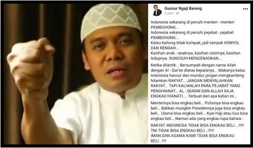 GUS NUR: Rakyat, TNI, Iman dan Agama Kami, Tidak Bisa Engkau Beli !!!