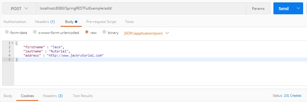 Add User postman - Spring 4 Restful Web Services CRUD JSON Example
