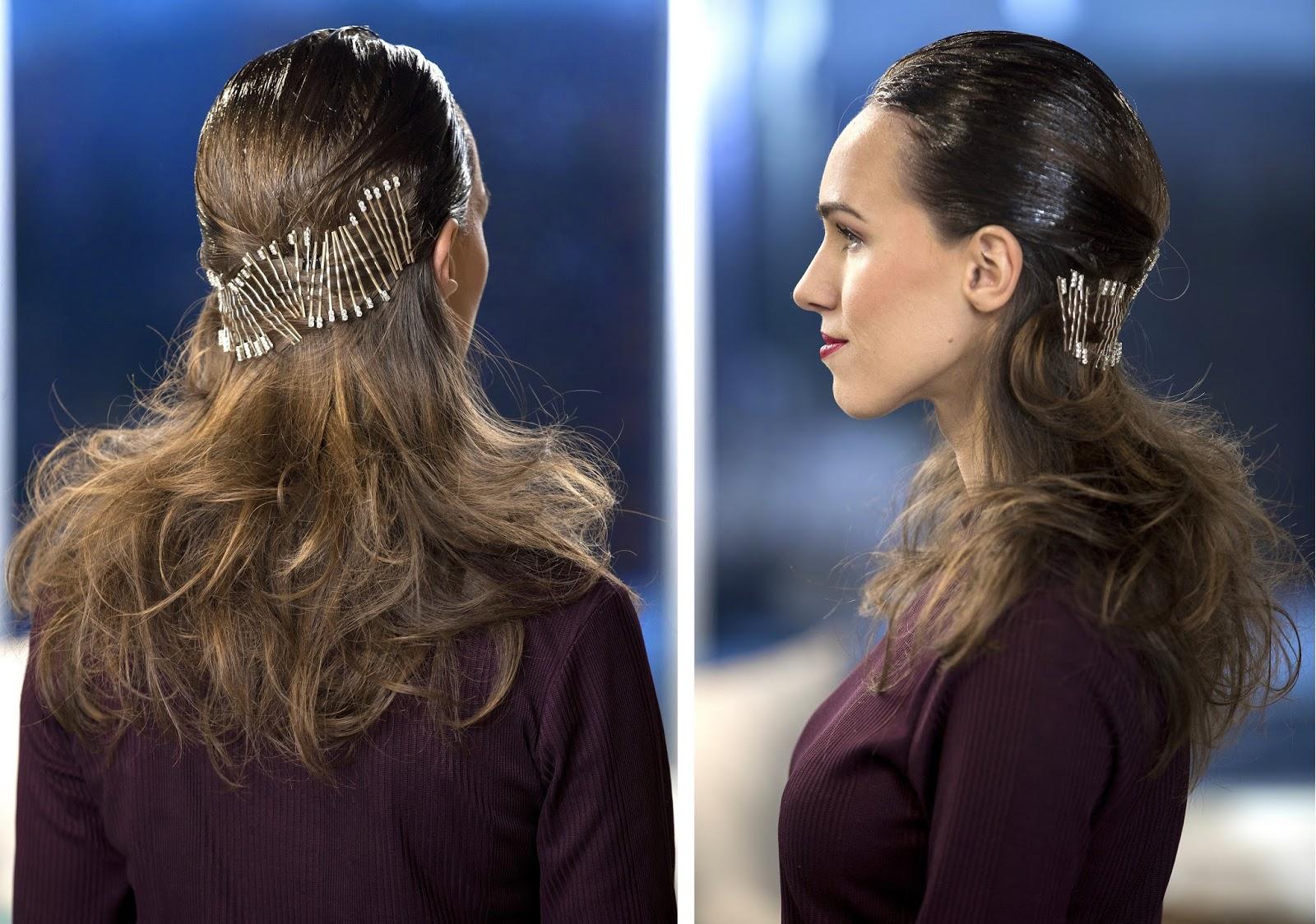 bobby pin christmas party hairstyle tutorial long hair