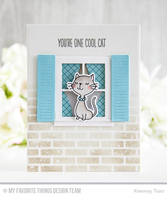 Handmade card from Keeway Tsao featuring Birdie Brown Cool Cat stamp set and Die-namics and Classic Windows Die-namics #mftstamps