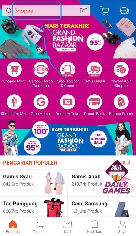 Halaman Awal Aplikasi Shopee