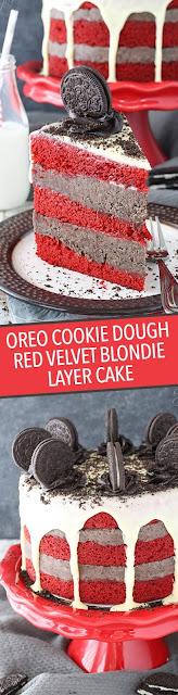 SWEET OREO COOKIE DOUGH RED VELVET BLONDIE LAYER CAKE