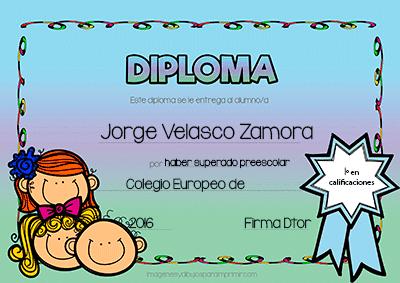 Diplomas para colegios, jardines de infancia guarderia