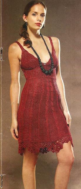 Patrón #1472: Vestido Rojo a Crochet y a Dos Agujas