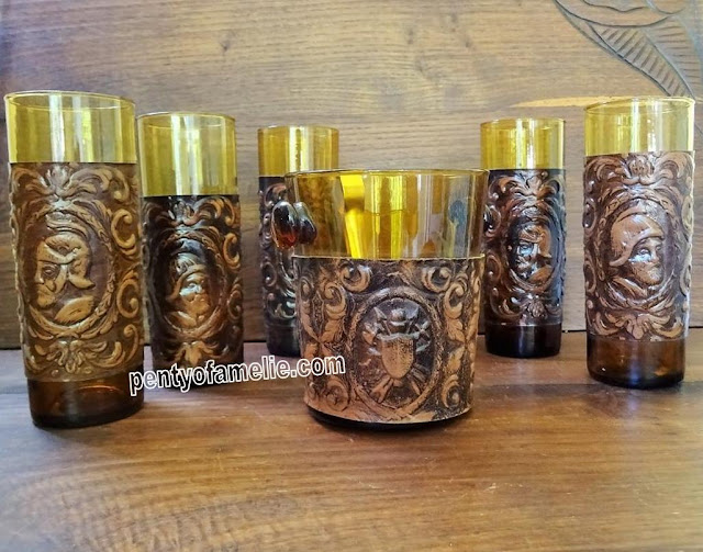 Set of Five Vintage Hand Blown Amber Glass Long Drink Glasses with Faux Leather collar depicting Conquistadores pattern