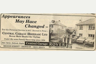 Central Garage advert which featured in the Herald Express in the 1960's
