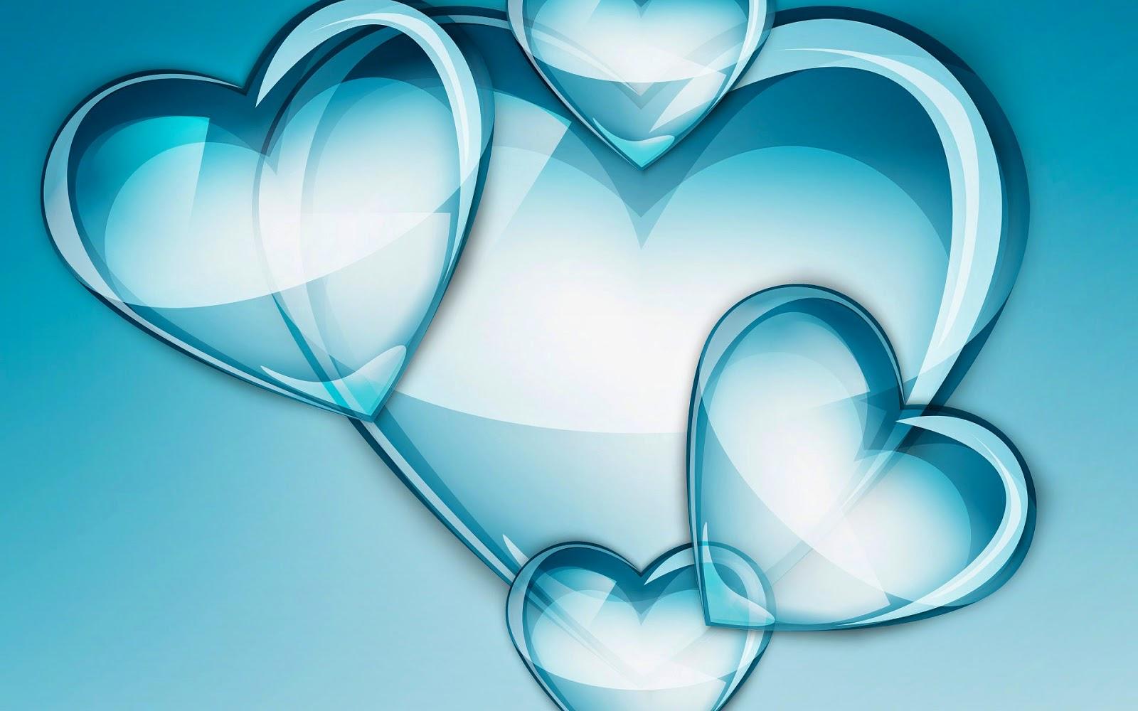 Blauwe doorzichtige liefdes hartjes
