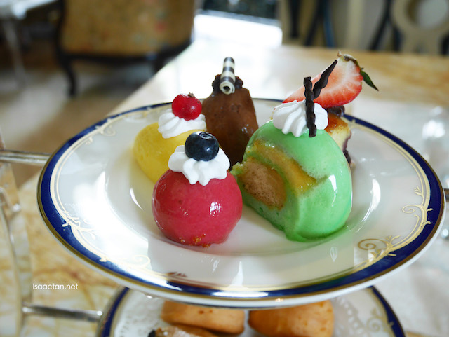 Assortment of afternoon tea pastries, tarts and cakes
