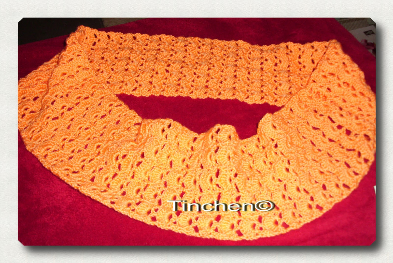 Tinchens - Bastelblog: Loopschal in orange