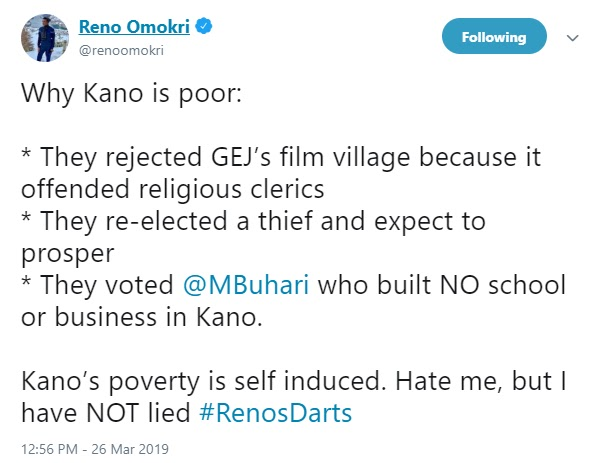 Kano state is a poor , they re-elected a thief and expect to prosper- Reno Omokri