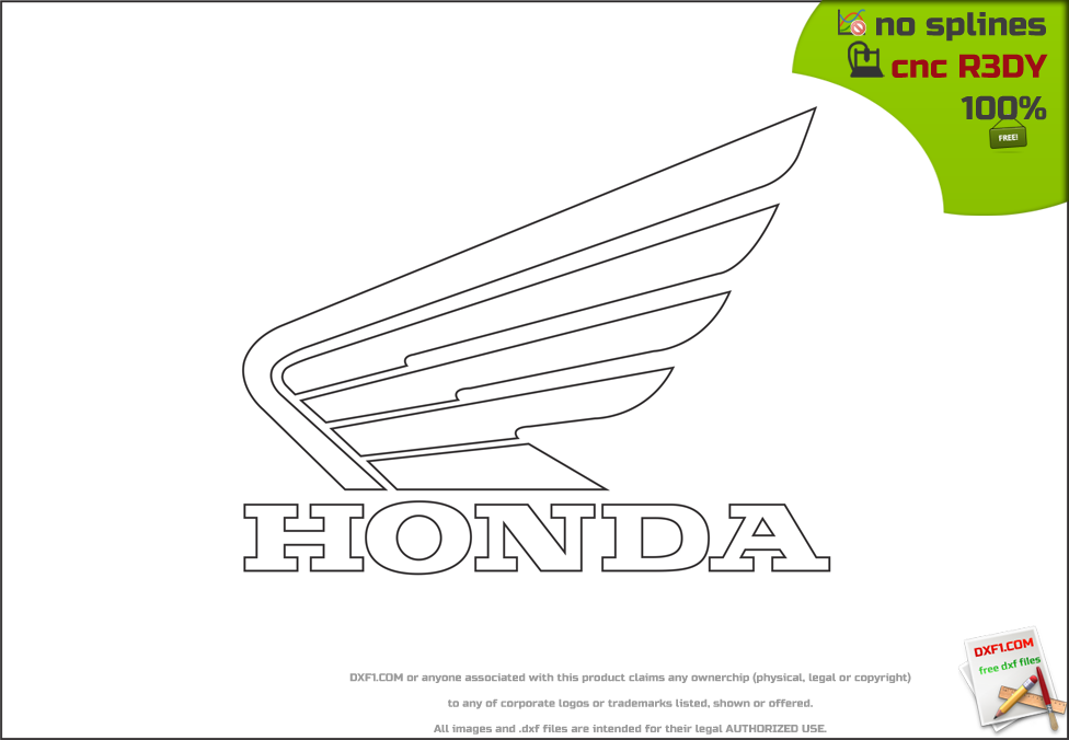 Free DXF files for CNC machines: HONDA wings style logo  dxf