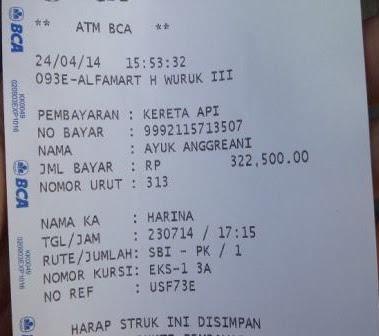 Cara Pembayaran Tiket Kereta Api Via ATM BCA, Mandiri dan