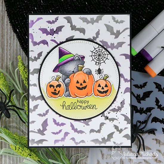 Happy Halloween Card by Juliana Michaels | Newton's Perfect Pumpkin Stamp Set & Flying Bats Stencil by Newton's Nook Designs #newtonsnook #handmade