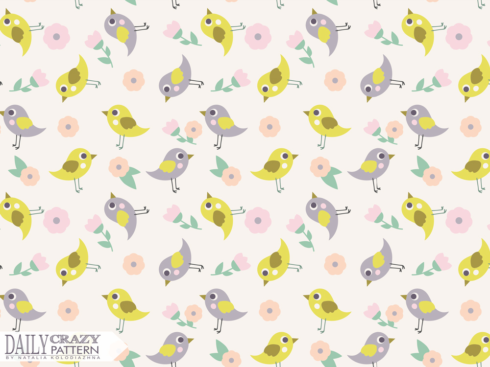 "Cute pattern with nice birds for ""Daily Crazy Pattern"" project"
