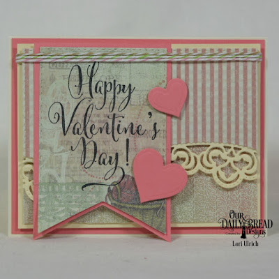 Our Daily Bread Designs Stamps: Happy Valentine's Day, Paper Collection:Soulful Stitches, Custom Dies: Layering Hearts, Double Stitched Rectangles, Leafy Edged Borders