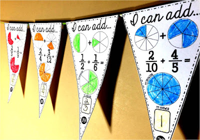 Fraction Addition Math pennant