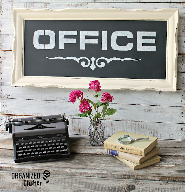 Thrifted Pressed Board Wall Art Upcycled to Faux Chalkboard Office Sign #oldsignstencils #stencil