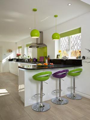 Jogo de cozinha em tons de verde
