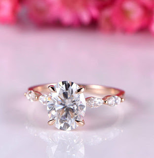 Simple Tips in Buying Couple, Promise, Engagement and Wedding Rings | Moissanite Engagement Rings: 5x7mm oval cut  moissanite 14k rose gold wedding ring