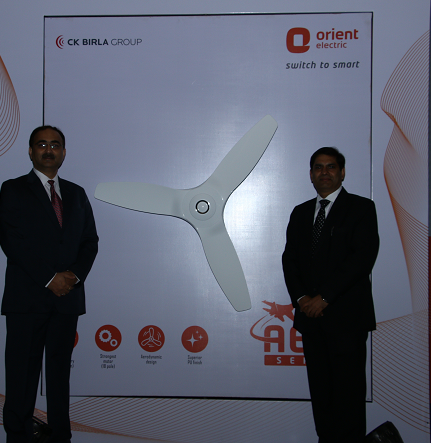 Mr. Sameer Tandon, Sr VP and Heads of Fans Business unit and Mr. Sunil Jain, Head - Sales and Marketing Orient Electric at launch of new Aeroquiet fan
