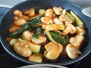 Salsa de calabacines y champiñones para solomillo