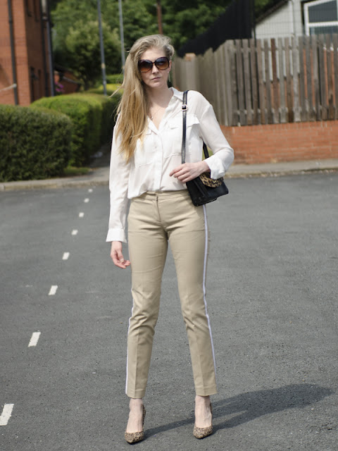 MK trousers and white shirt