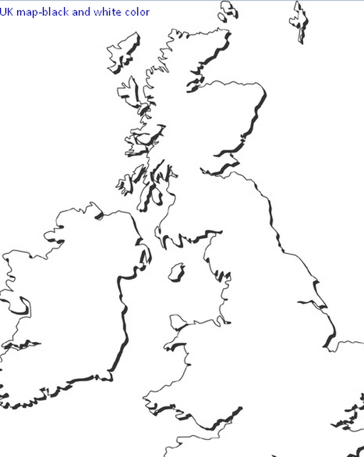 Maps of UK Black and White Color Pictures Maps of UK Black and