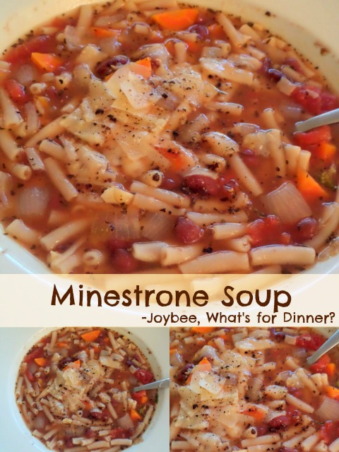 Minestrone Soup:  A simple, vegetarian, Italian style soup made with vegetables, beans, pasta, tomatoes, and spices.