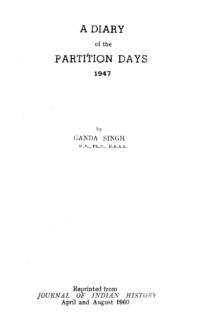 A Diary Of The Partition Days 1947